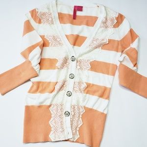 Anthropologie | Strip and lace cardigan
